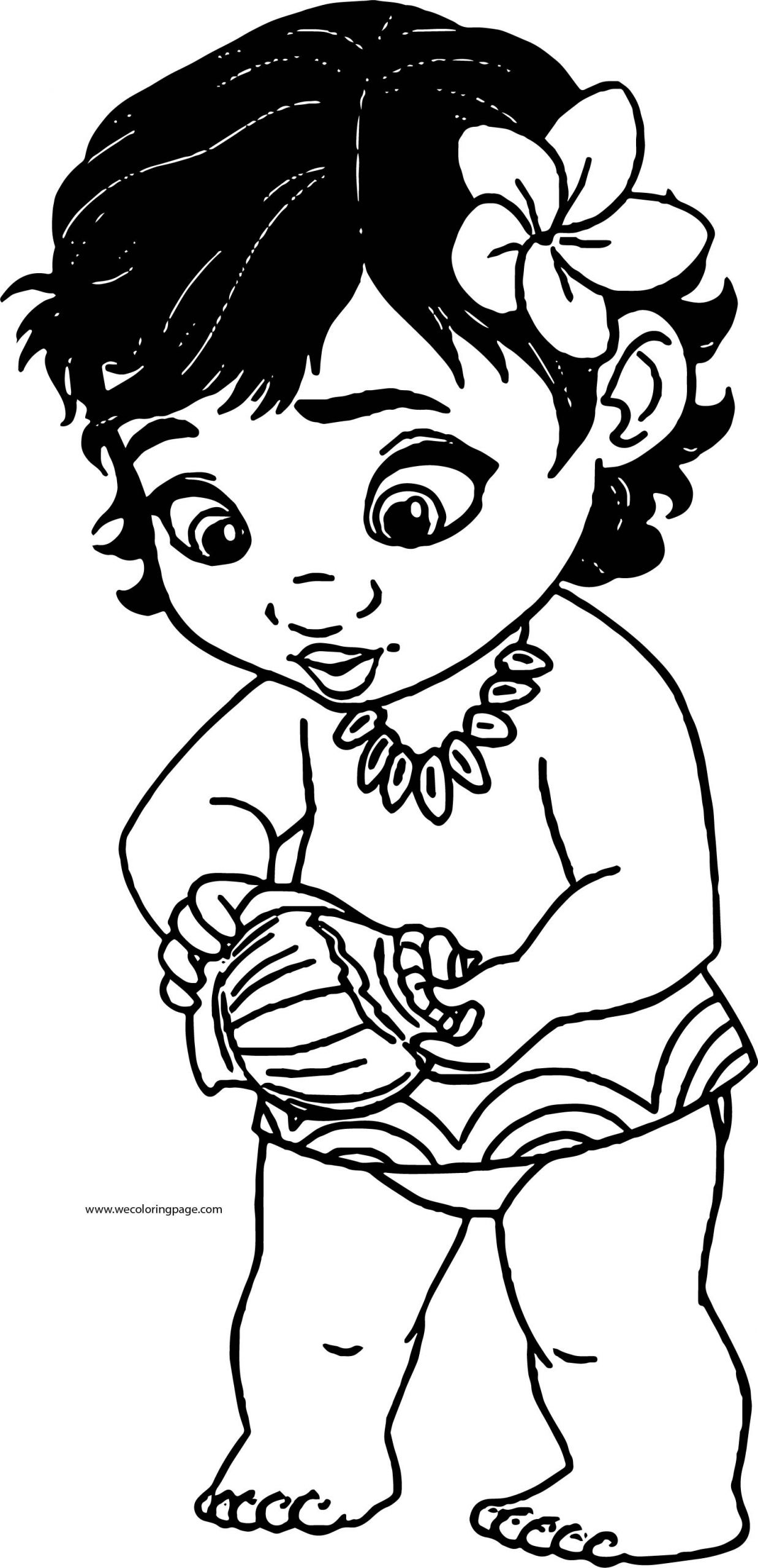 Moana Baby Coloring Pages  Toddler Moana Kid Girl Coloring Page