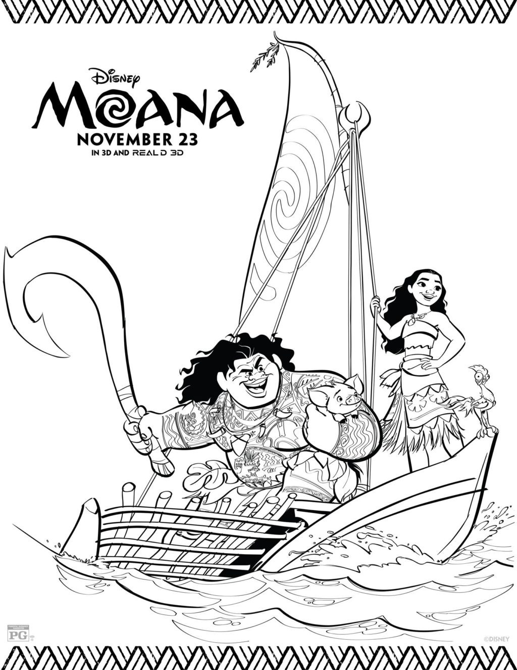 Moana Baby Coloring Pages  Free Printable Moana Coloring Pages