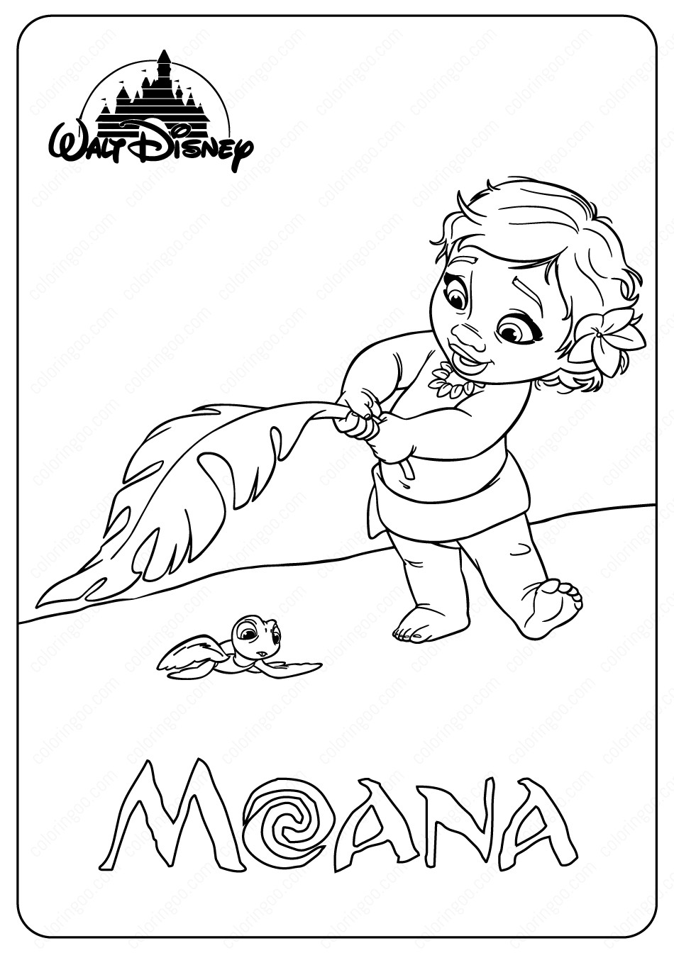 Moana Baby Coloring Pages  Printable Disney Baby Moana Coloring Pages