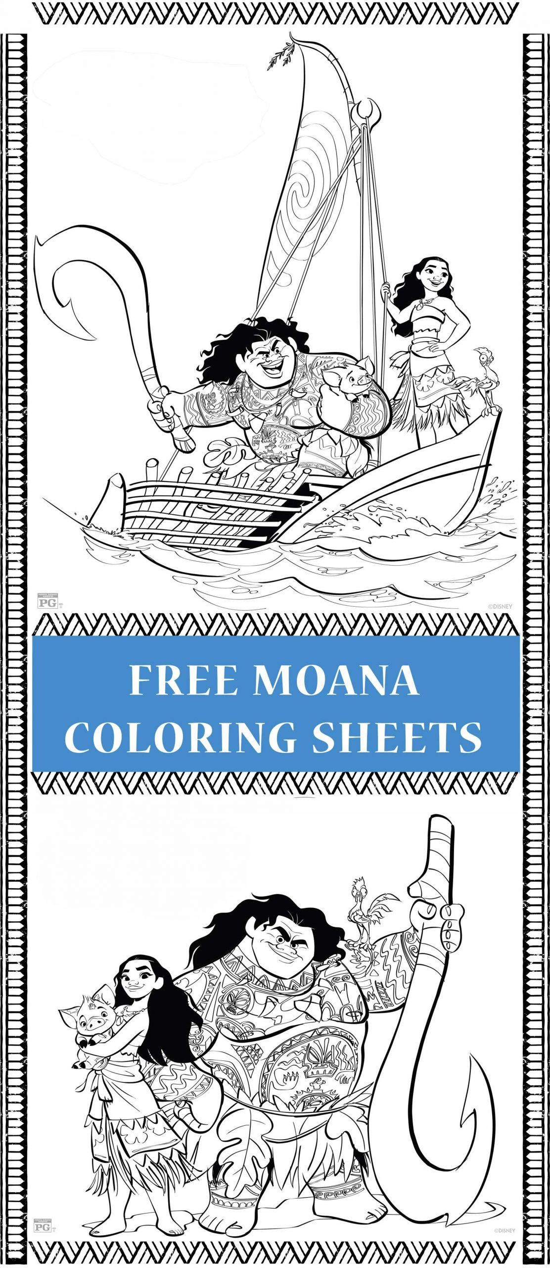 Moana Baby Coloring Pages  Free printable Moana coloring pages & activity sheets for