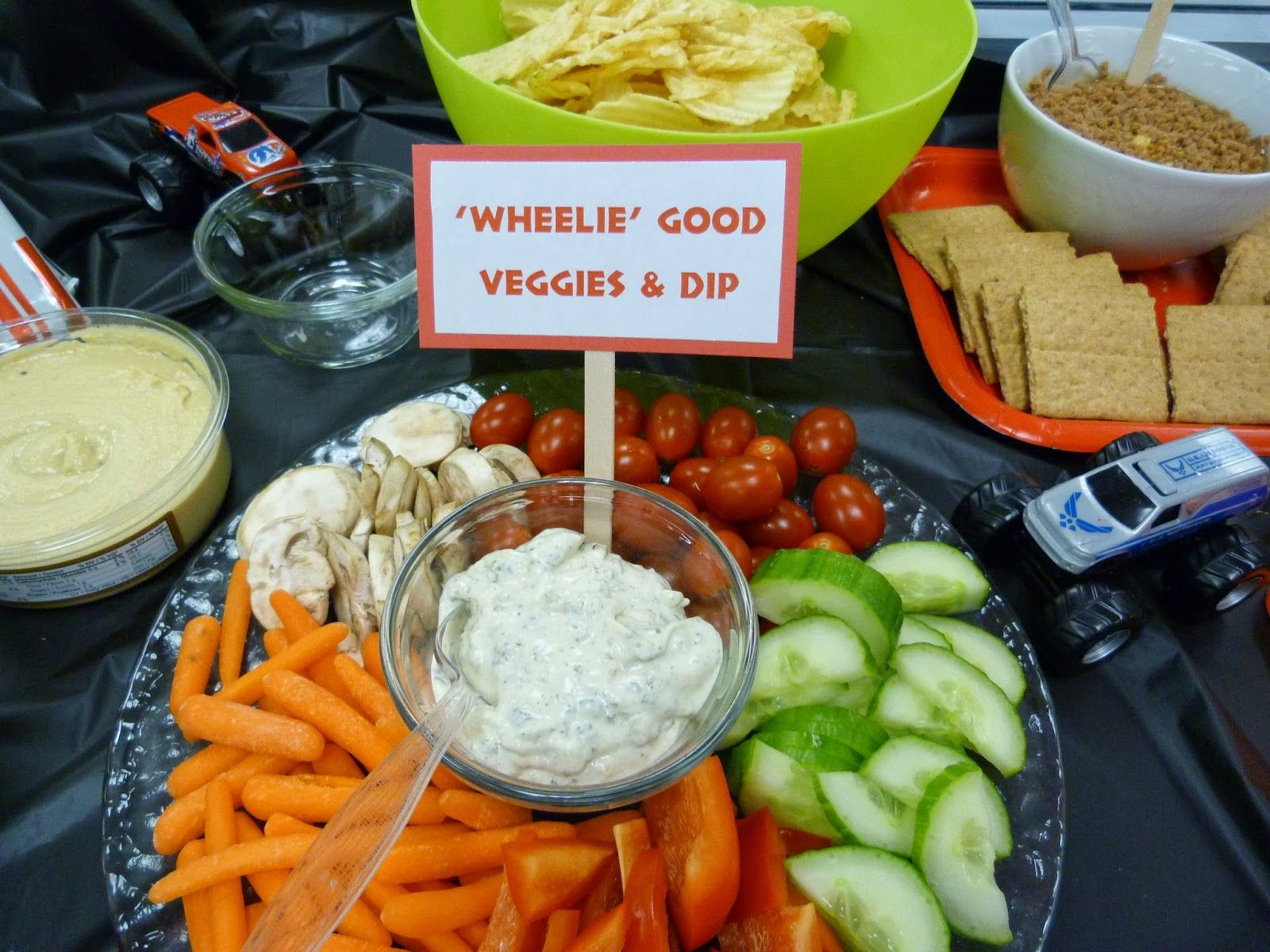 Monster Truck Birthday Party Food Ideas  Great idea for a traditional veggie platter