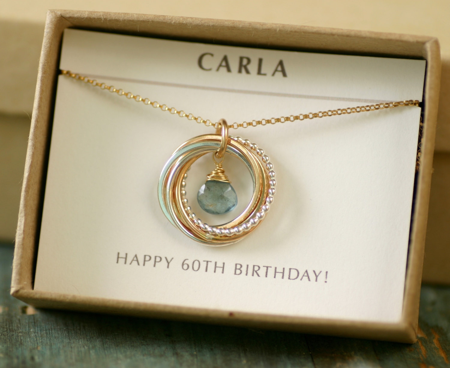 Mother 60Th Birthday Gift Ideas  60th birthday t for women aquamarine necklace for mom t