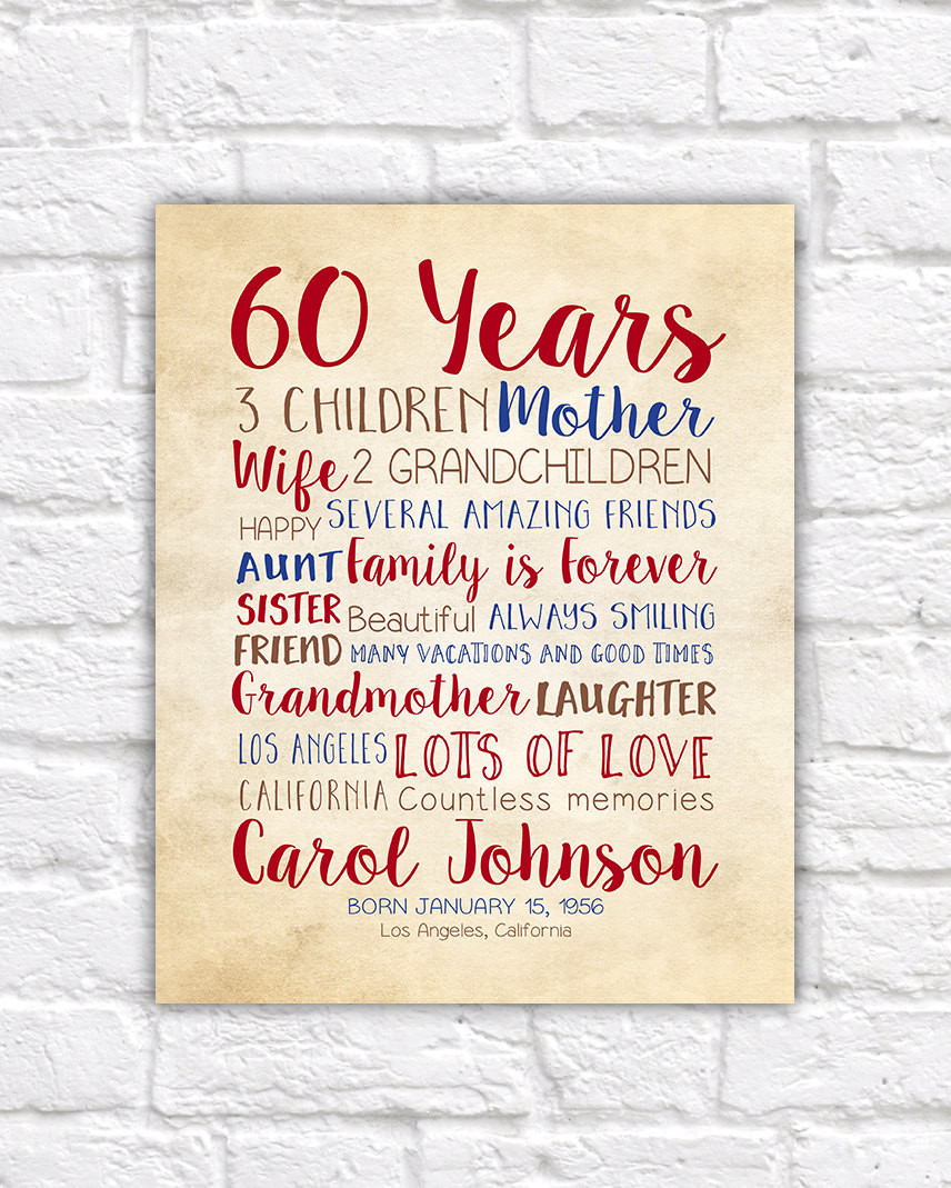 Mother 60Th Birthday Gift Ideas  Birthday Gift for Mom 60th Birthday 60 Years Old Gift