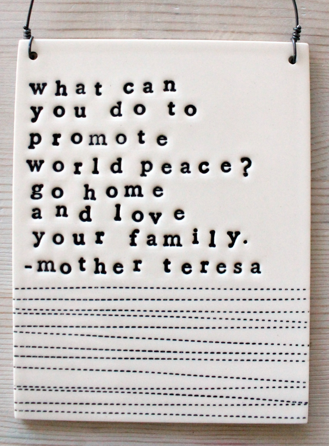 Mother Teresa Peace Quote  plaque mother teresa quote IN STOCK by mbartstudios on Etsy