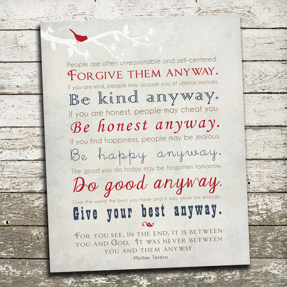 Mother Teresa Quote Be Kind Anyways  Mother Teresa Quote Wall Art Print Be Kind Anyway Gift Print