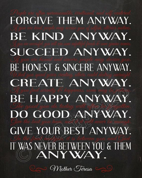 """Mother Teresa Quote Be Kind Anyways  Mother Teresa """"Do It Anyway"""" Quote INSTANT DOWNLOAD"""