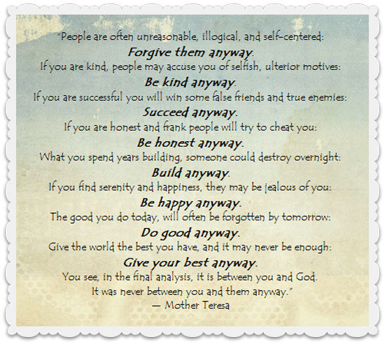"""Mother Teresa Quote Be Kind Anyways  Monday Motivation """"Do It Anyway"""" The Joys of Boys"""