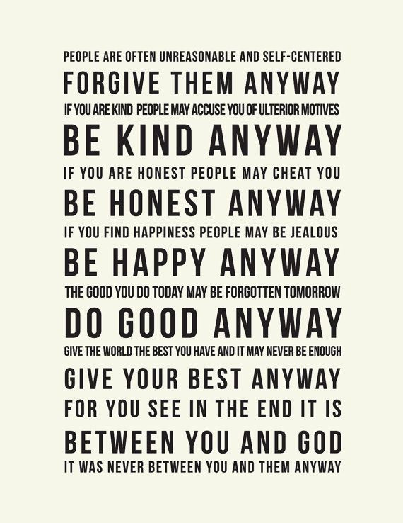 Mother Teresa Quote Be Kind Anyways  Inspirational Mother Teresa Quote Do it Anyway by