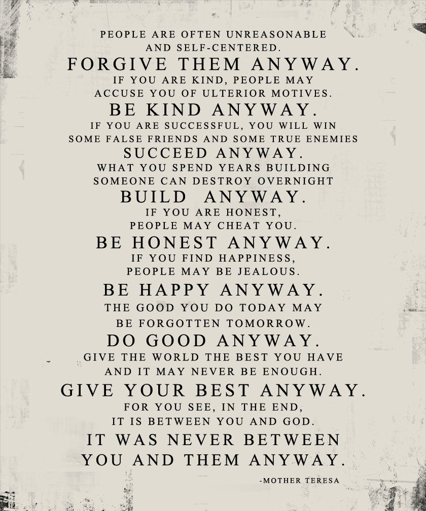 Mother Teresa Quote Be Kind Anyways  Mother Teresa Do it Anyway DISTRESSED worn paper look STOCK