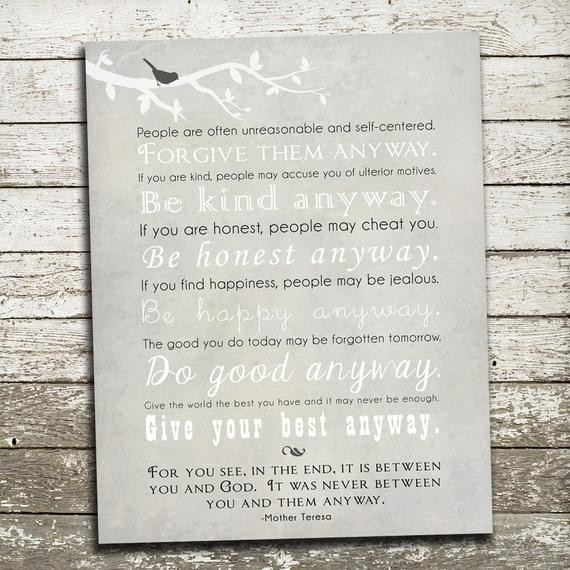 Mother Teresa Quote Be Kind Anyways  Mother Teresa Quote Wall Art Be Kind Anyway