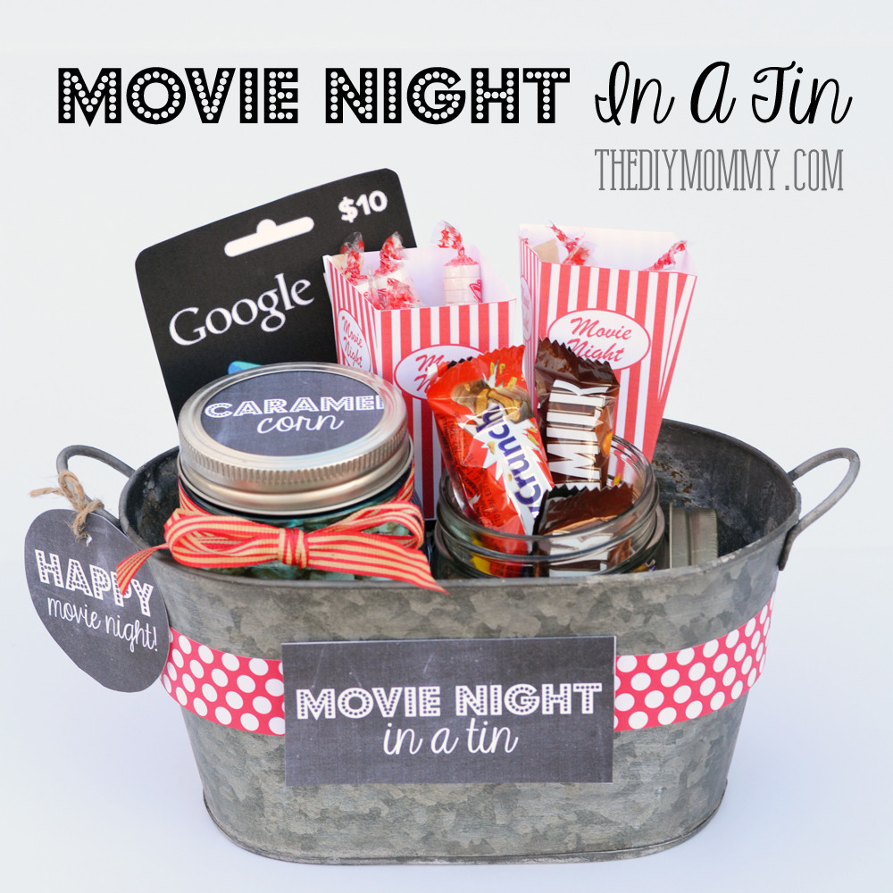 Movie Gift Basket Ideas  A Gift In a Tin Movie Night in a Tin
