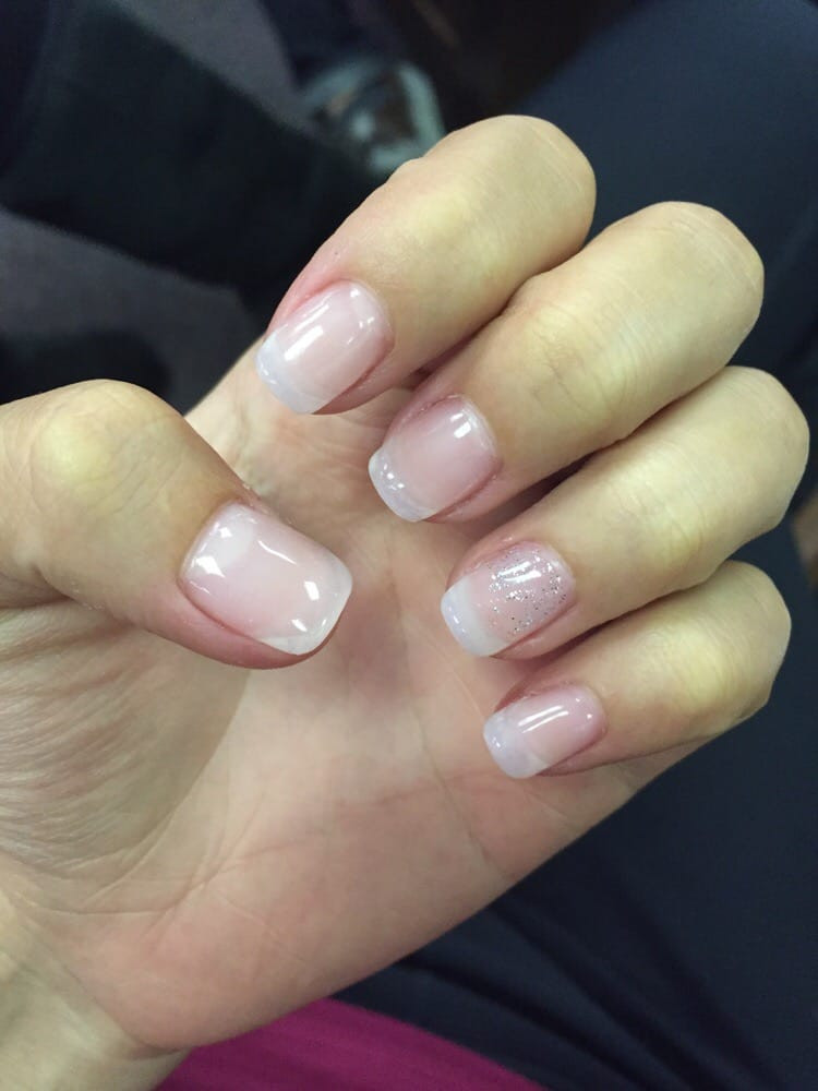 Natural Glitter Nails  Acrylic nails natural with a little bit of glitter accent
