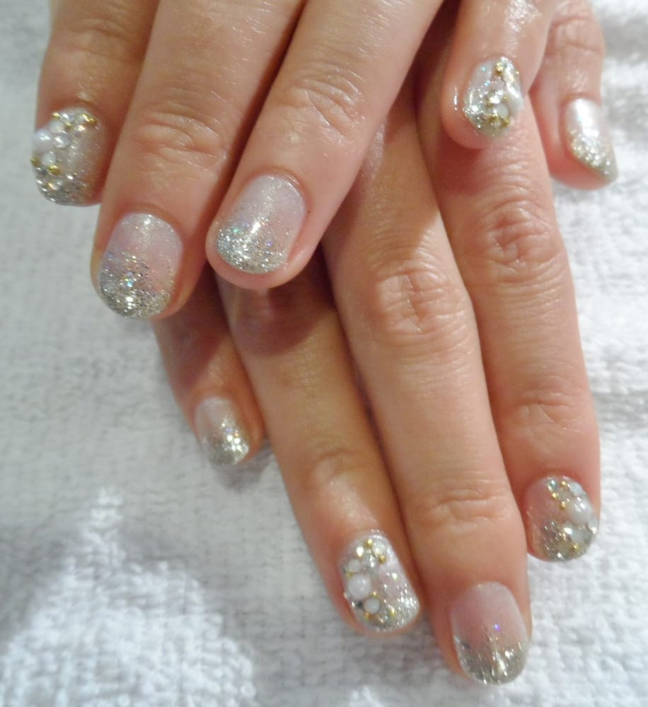 Natural Glitter Nails  Natural Gel nails with Glitter Pearl Gems Yelp