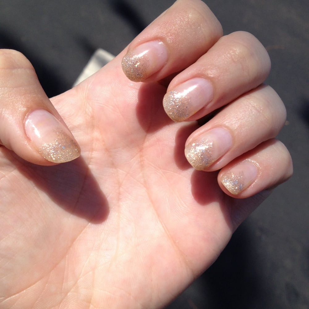 Natural Glitter Nails  Kiew s amazing work again Natural nails with champagne