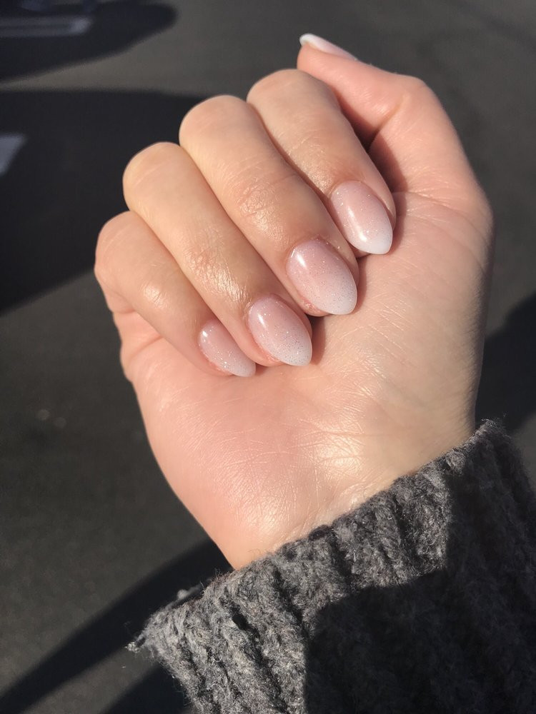 Natural Glitter Nails  Ombré acrylic on short natural nails with an almond shape