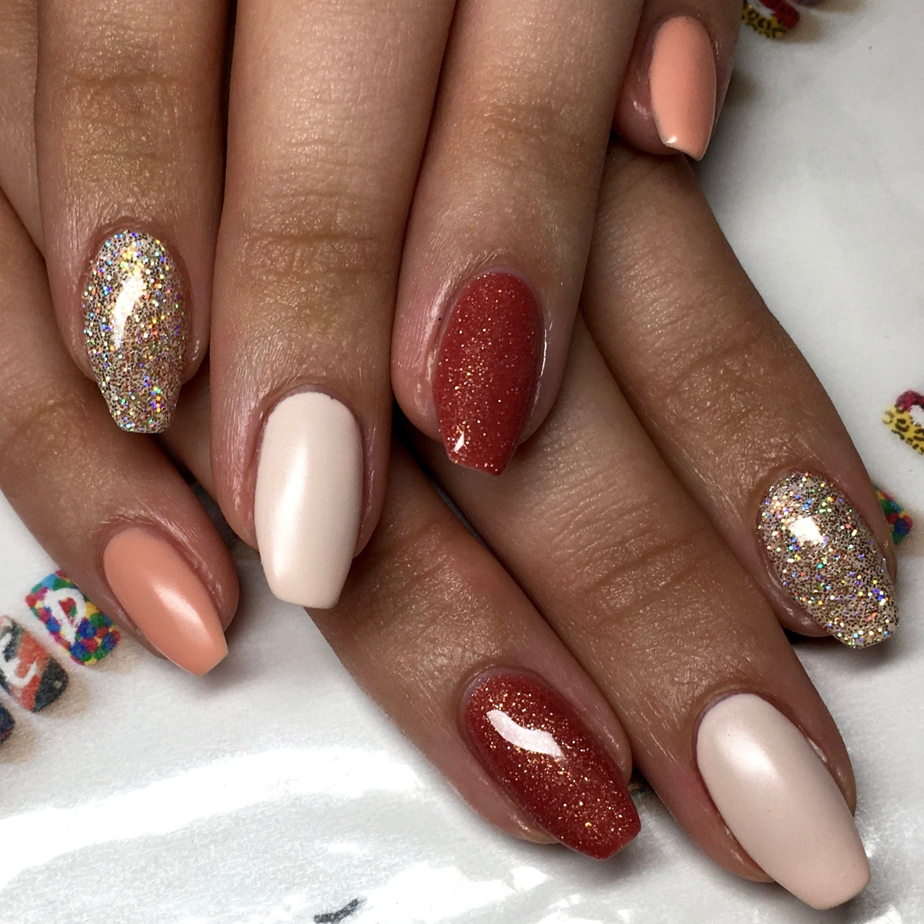Natural Glitter Nails  natural gel polish coffin nails with magpie glitter