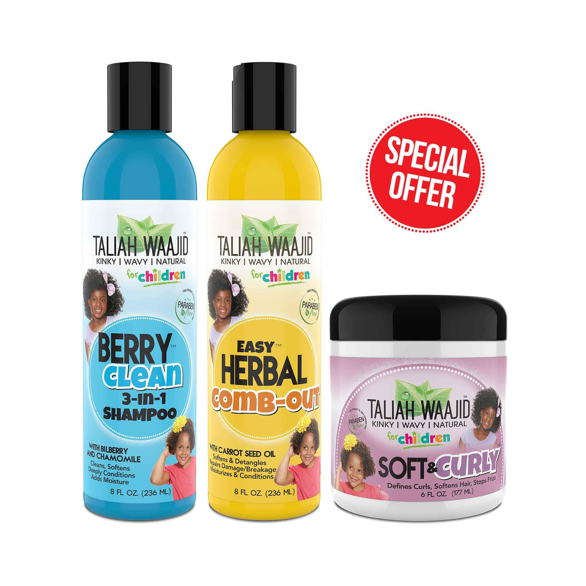Natural Hair Products For Kids  Curly Wavy Hair Bundle for Kids Taliah Waajid Brand