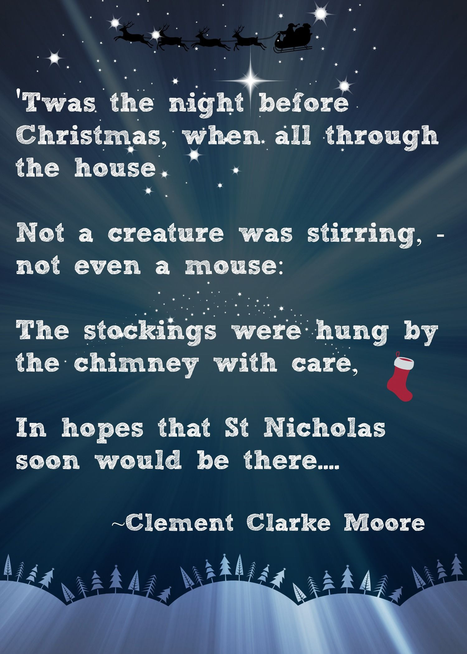 Night Before Christmas Quotes  Christmas Advent Calendar Quote Twas the Night Before