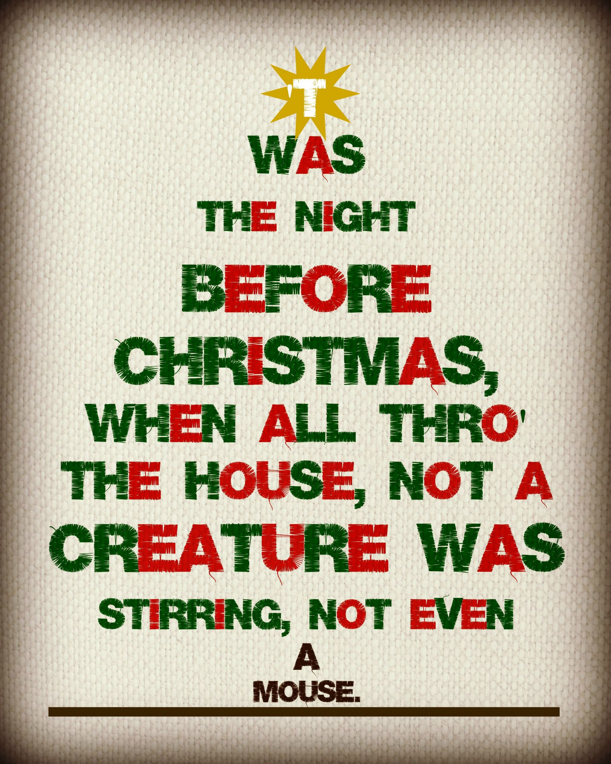 Night Before Christmas Quotes  'Twas The Night Before Christmas Free Printable – If I