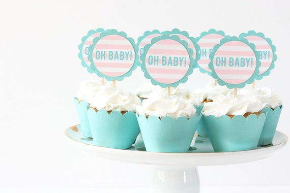 Oh Baby Party Supplies  Oh Baby Cupcake Toppers Gender Reveal Party Cupcake Topper