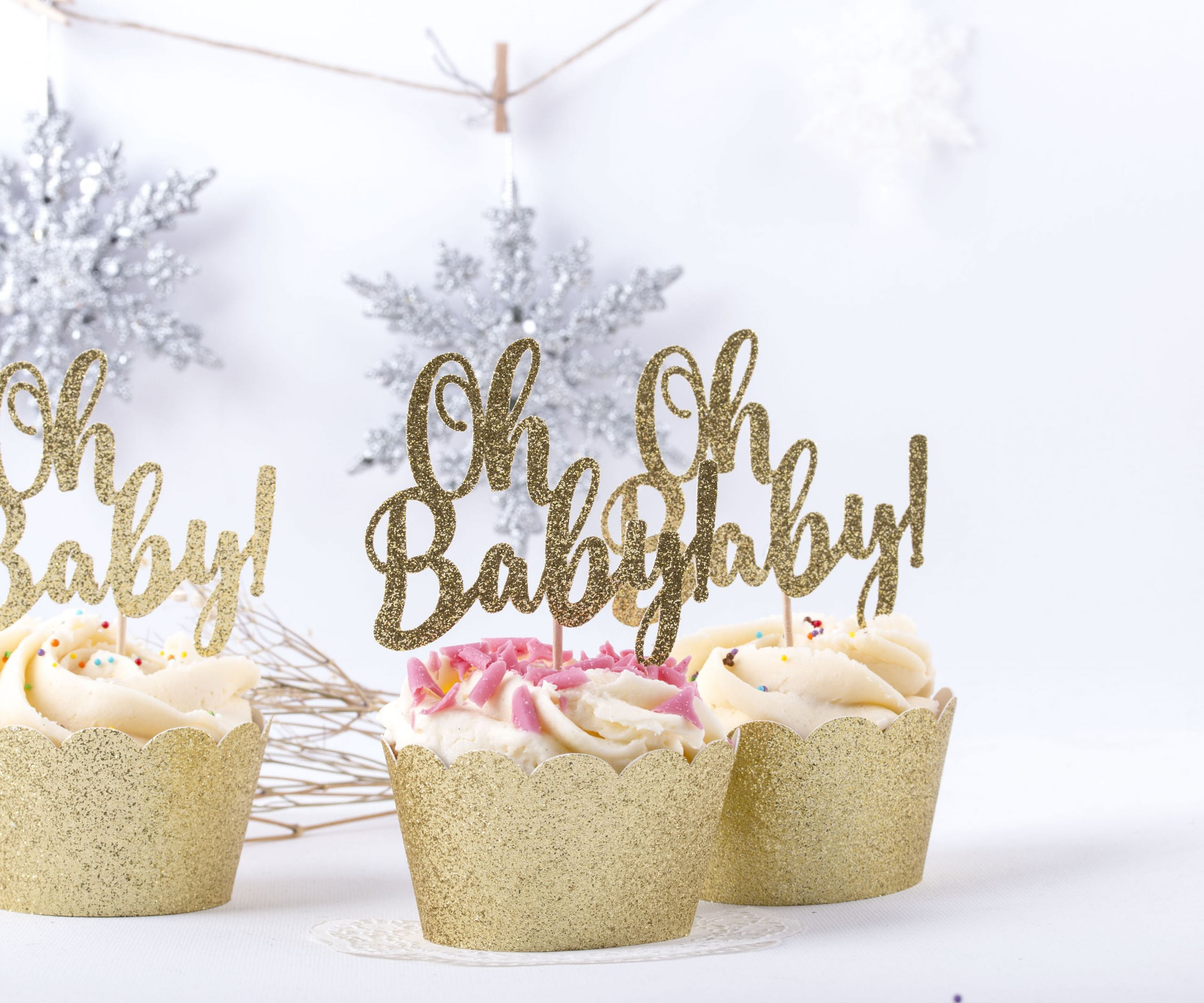 Oh Baby Party Supplies  Oh Baby Shower Toppers Cupcake Party Picks Gold Cupcake