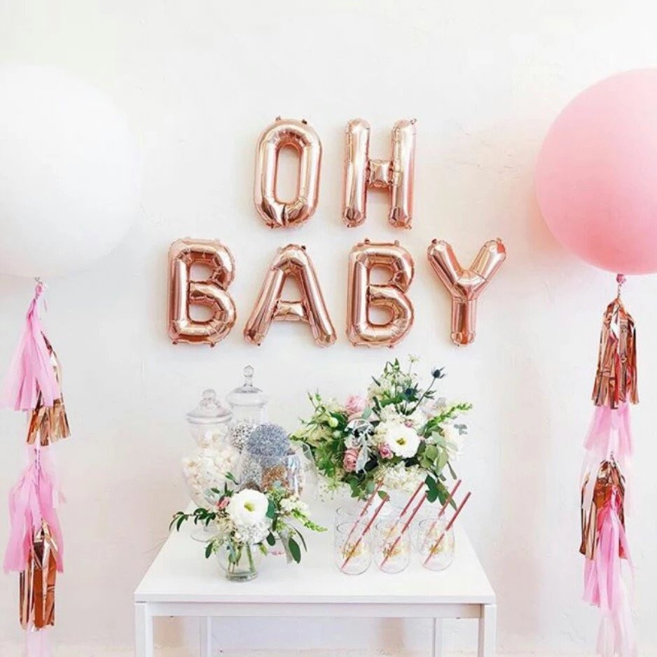 Oh Baby Party Supplies  16inch OH BABY Gender Reveal Letter Foil Balloons Baby Boy
