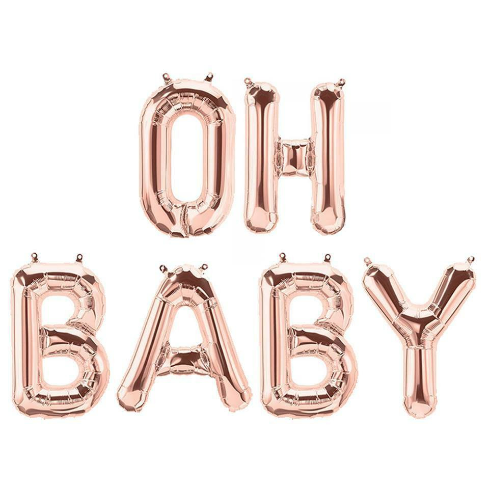 Oh Baby Party Supplies  Party Supplies Rose Gold 41cm Foil Letters Balloon OH BABY