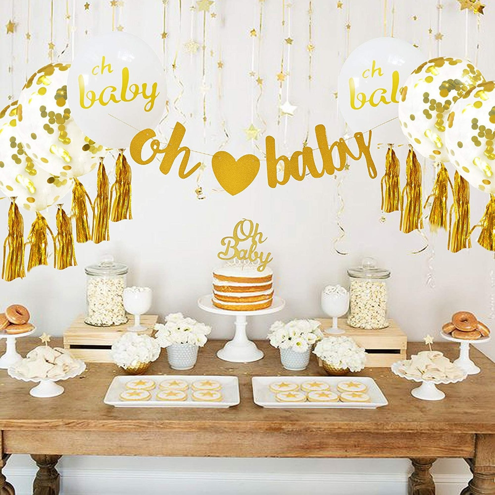 Oh Baby Party Supplies  Baby Shower Decorations Neutral Decor for boy & girl Gold