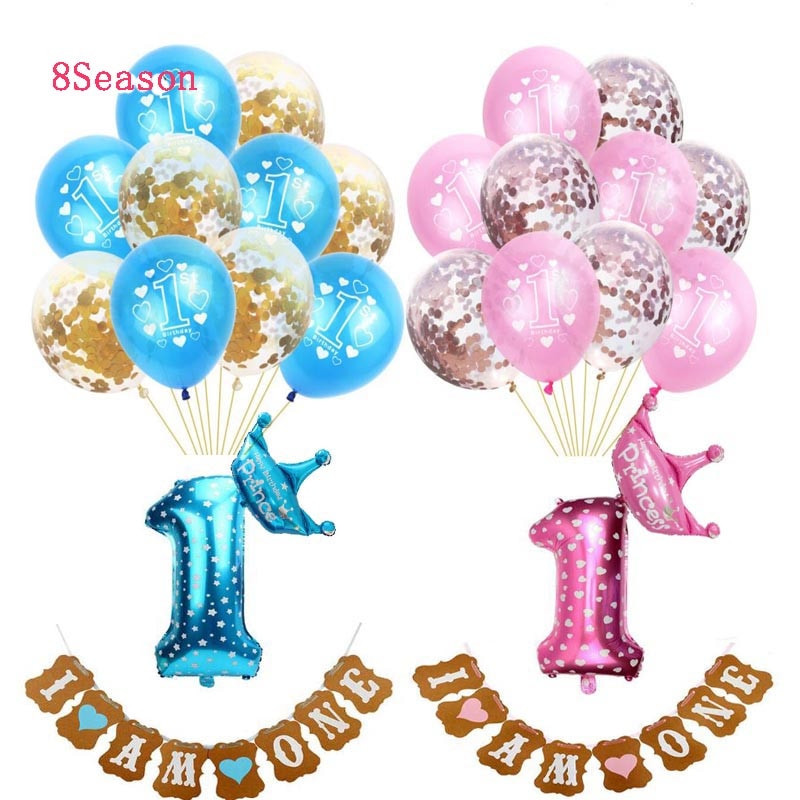 Oh Baby Party Supplies  8SEASON Babyshower Balloons Silver Decoration Birthday For