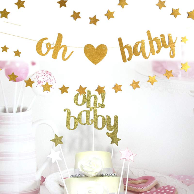 Oh Baby Party Supplies  Oh Baby Banner Birthday Party Decoration Oh Baby Cake Flag