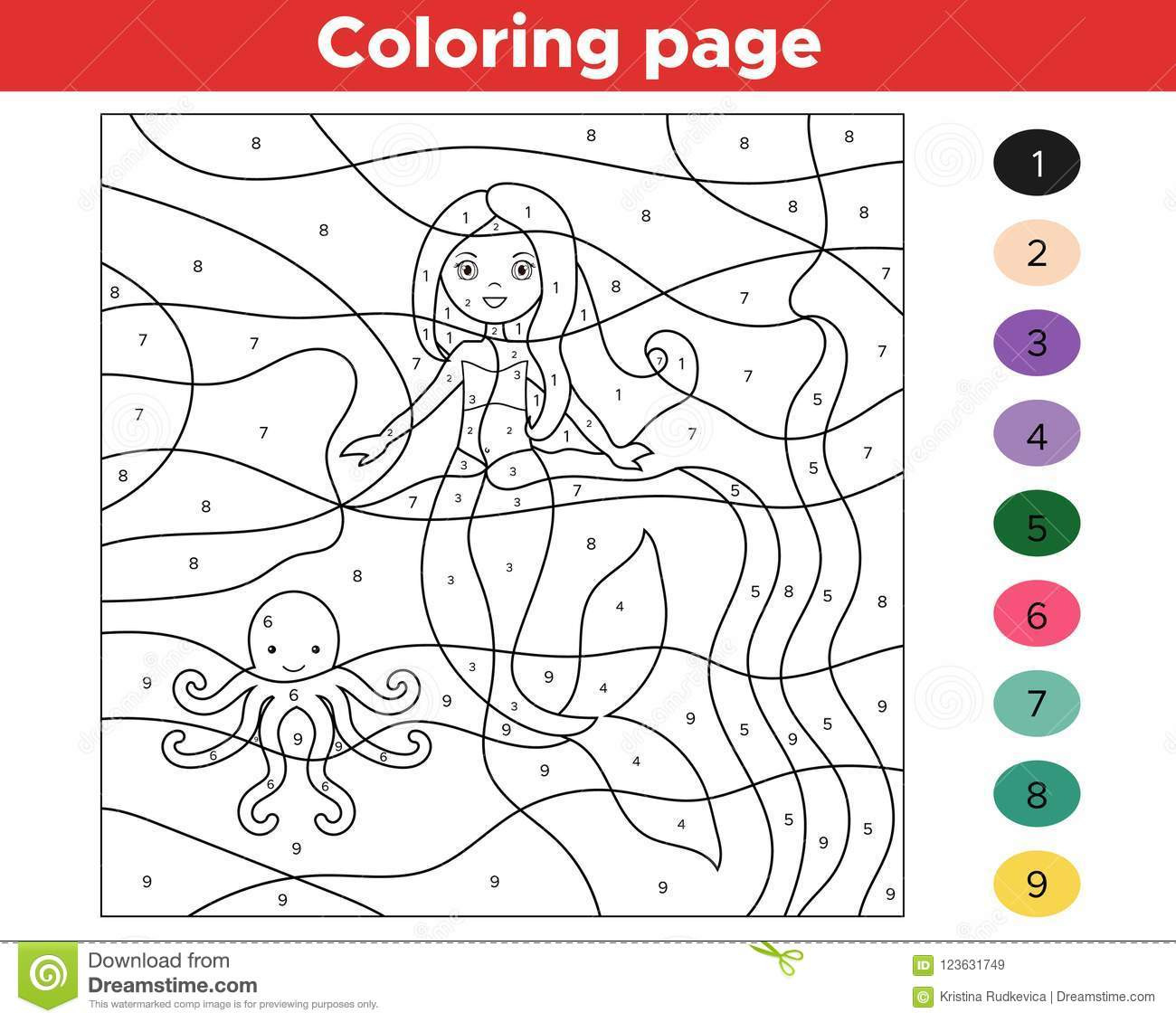 Online Coloring Games For Kids  Educational Game For Kids Color By Numbers Stock Vector