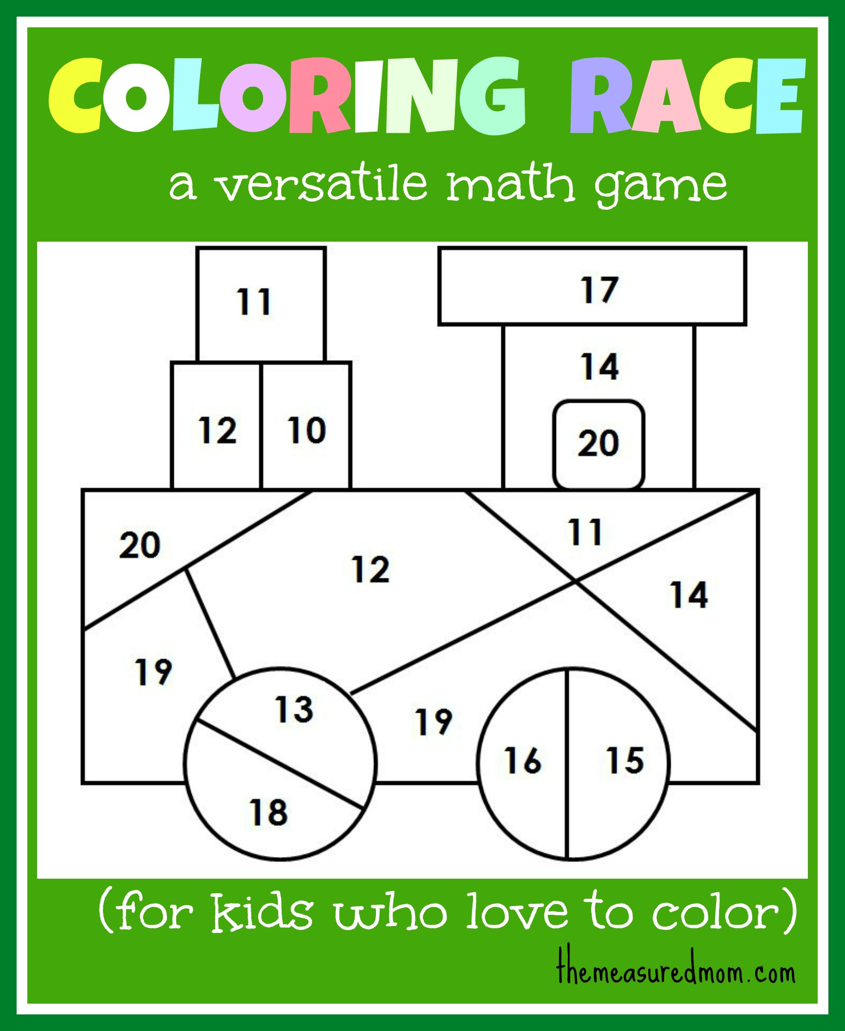 Online Coloring Games For Kids  Math game for kids Coloring Race bines math and