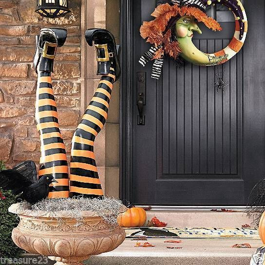 Outdoor Halloween Decorations On Sale  Set of Two Witch Leg Stakes Indoor Outdoor Halloween