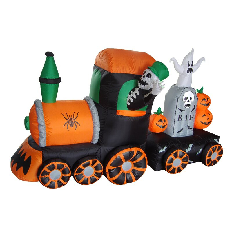 Outdoor Halloween Decorations On Sale  The Holiday Aisle Halloween Inflatable Skeleton on Train