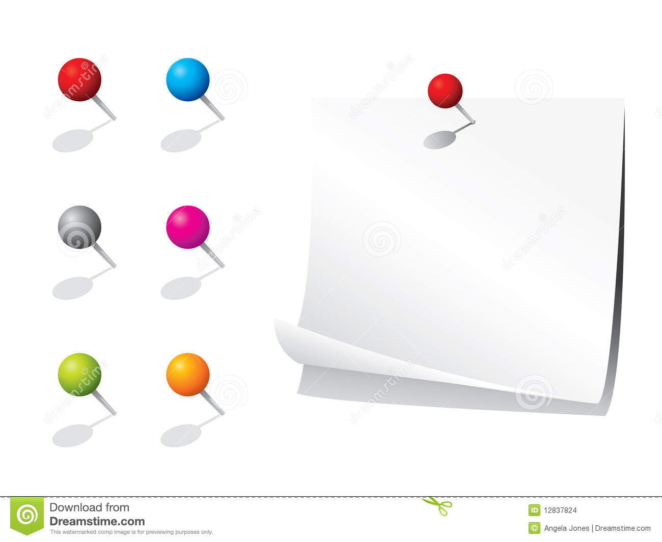 Paper Pins  Blank memo paper and pins stock vector Image of plastic