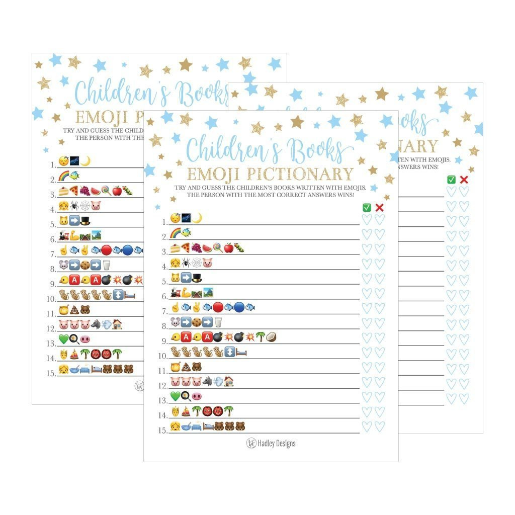 Party City Baby Shower Games  25 Blue Emoji Children s Books Pictionary Baby Shower Game