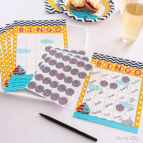 Party City Baby Shower Games  Bingo Baby Shower Game Idea Nautical Baby Shower Ideas