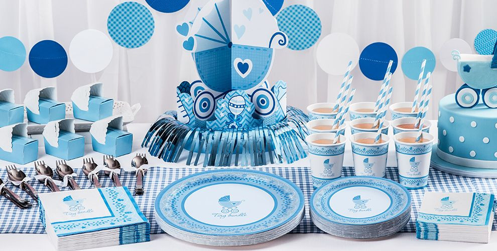 Party City Baby Shower Games  Blue Stroller Baby Shower Party Supplies