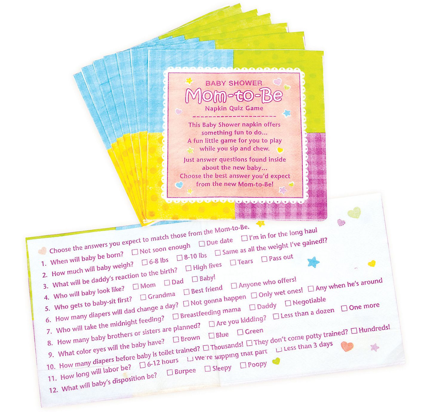 Party City Baby Shower Games  Napkin Trivia Baby Shower Game Party City