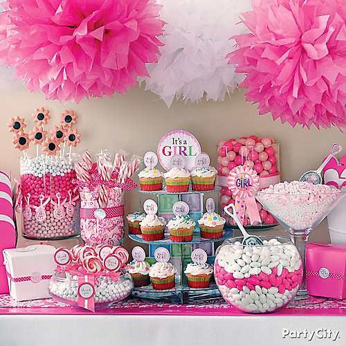Party City Baby Shower Themes For A Girl  Girl Baby Shower Treats Table Idea Party City