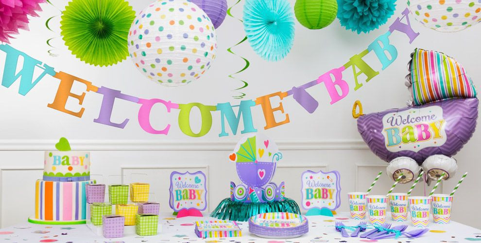 Party City Baby Shower Themes For A Girl  Bright Wel e Baby Shower Decorations