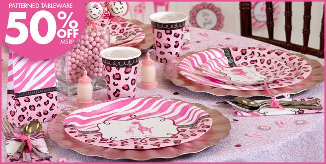 Party City Baby Shower Themes For A Girl  Pink Safari Baby Shower Party Supplies Party City