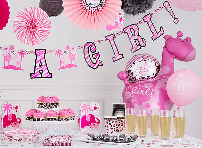 Party City Baby Shower Themes For A Girl  Pink Safari Girl s Baby Shower Ideas Party City