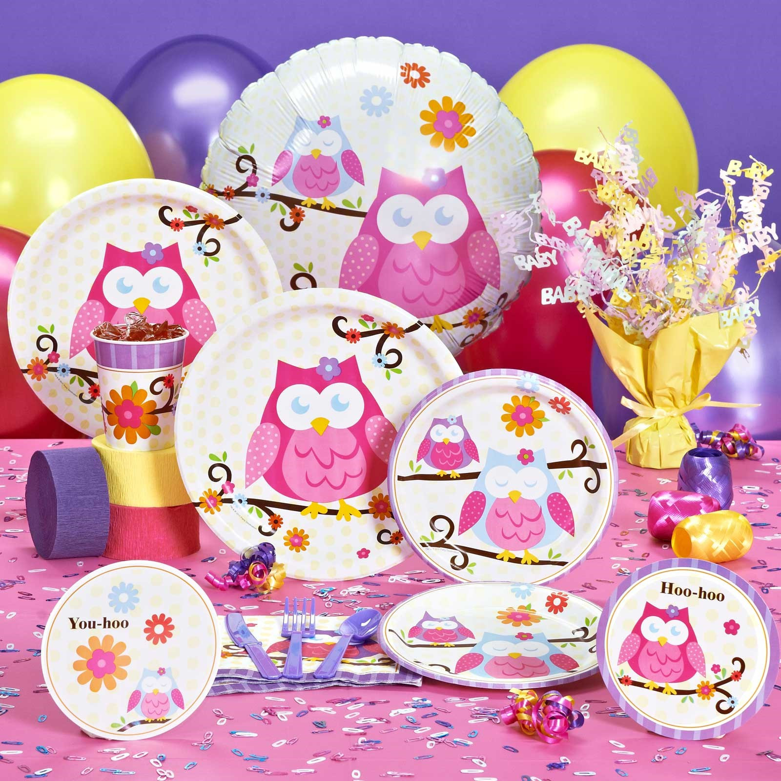 Party City Baby Shower Themes For A Girl  Owl Baby Shower Decorations