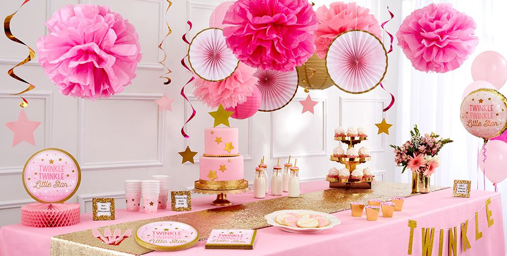 Party City Baby Shower Themes For A Girl  Pink Twinkle Twinkle Little Star Gender Reveal Baby Shower