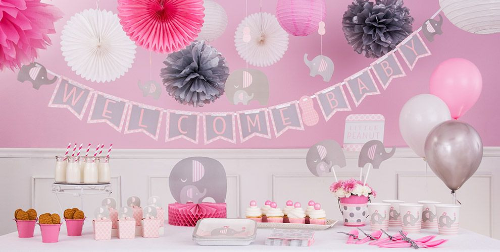 Party City Girl Baby Shower  Pink Baby Elephant Baby Shower Party Supplies