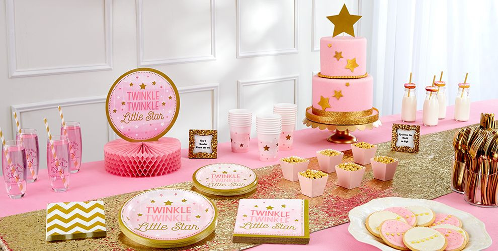 Party City Girl Baby Shower  Pink Twinkle Twinkle Little Star Gender Reveal Baby Shower