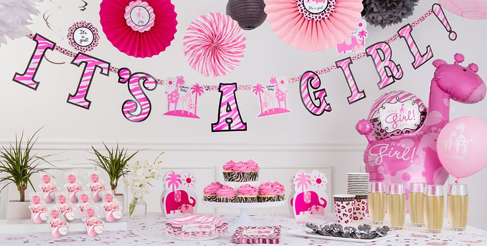 Party City Girl Baby Shower  Pink Safari Baby Shower Party Supplies Party City