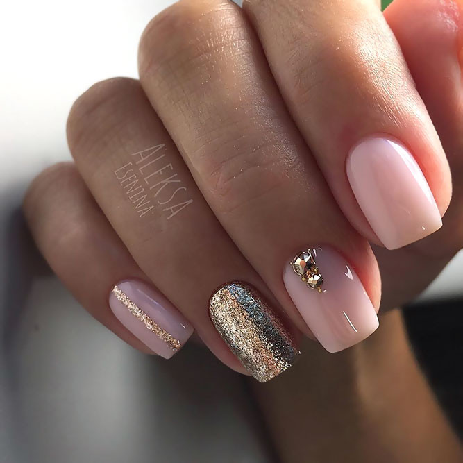 Pink And Glitter Nail Designs  Chic Pink And Gold Nails Designs