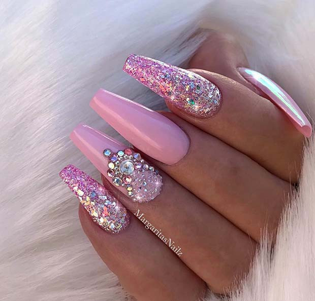Pink And Glitter Nail Designs  41 Tasteful Ways to Wear Long Coffin Nails